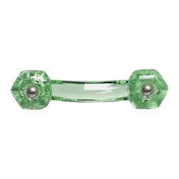 Renovators Supply - Cabinet Pulls Green Drawer Pull 3'' boring Chrome Screw - Glass Drawer Pulls. This glass pull has a 3 inch boring and comes with  chrome screws. This glass drawer pull is 4 1/4 inch long and projects 1 1/2 inch. Sold individually.