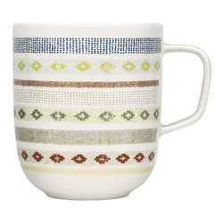 "iittala Sarjaton Tikki Mug - Smartly designed with urban tribal appeal, iittala's Sarjaton Tikki Mug is brimming with beauty and durable design. Crafted from creamy-white porcelain, the Tikki or ""stitch"" pattern was designed to portray the wonderful embroidered materials from traditional Finnish textiles. Created by design team Samuji, the banded prints feature both diamond and dotted designs that mimic antique stitched and beadwork patterns. Using a variety of colors such as mossy green, burgundy, pale pink, chartreuse and blue the traditional design becomes reimagined for modern sensibilities. The curved handle gently arcs off the side to provide a sturdy hold on any hot beverage or steamy soup; so sip in-style with iittala's Sarjaton Mug."