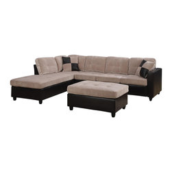 Adarn Inc - Contemporary Microfabric Vinyl Mallory Reversible Sectional Ottoman, Cream - The Mallory collection was designed to create an inviting and warm atmosphere in homes. Ideal for use in living rooms or family rooms, this collection features a reversible sectional that can be rearranged to suit the needs of your room. The construction includes pocket coil seating for individualized comfort while loose seat and back cushions allow for easy fluffing. Each piece is wrapped in microfiber and leather-like vinyl for a fresh urban look without the high price point that comes along with leather. Details of this collection include exposed wood legs, smooth track arms and baseball seam stitching.