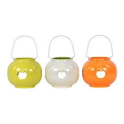 "Benzara - Ceramic Lantern with Apple CutOut Set of Three - Ignite your passions and light up your home with the Elegant and Beautiful Colored Ceramic Lantern with Apple CutOut Set of Three. This set of three elegant ceramic lanterns will shine their radiant light on your garden parties, home, and even on a romantic dinner just for two. The three ceramic lanterns come in a cute and comfy round shape and each lantern sports a different colors ranging from yellow, white and orange. Each lantern also features a cut out of an apple. Each ceramic lantern also comes with an attached handle. The dimensions of the Elegant and Beautiful Colored Ceramic Lantern with Apple CutOut Set of Three are (6.5""x6.5x10""H) x 3. Ceramic; Yellow, white and orange; (6.5""x6.5x10""H) x 3; Dimensions: 7""L x 7""W x 10""H"