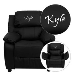 Flash Furniture Personalized Deluxe Leather Kids Recliner with Storage Arms - Bl - About Flash FurnitureFlash Furniture prides itself on fine furniture delivered fast. The company offers a wide variety of office furniture, whether for home or commercial use. Leather reception seating, executive desks, ergonomic chairs, and conference room furniture are all available to ship within twenty-four hours. High quality at high speeds!