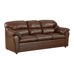 ACME Furniture - Acme Connell Bonded Leather Match Sofa Sleeper in Brown - Hint of traditional style with overstuffed design in this Connell Brown Bonded Leather Match Sofa Sleeper by Acme Furniture is achieved through overstuffed seating and pillow-top arms, and back cushions provide additional comfort. Rich brown finished durable bonded leather wraps the frame for sturdy and long lasting construction. Connell sofa sleeper will never go out of style and give a refreshing new look to your room!
