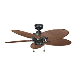 Kichler - Crystal Bay Climates Satin Black 52-Inch Ceiling Fan w/ Chocolate Woven Wicker A - - All-Weather ABS motor assembly.   - Stainless steel mounting hardware.   - Aluminum support system.   - Motor size: 212mm x 25mm.   - Mounting Slope - Pitch: 30 degree or 7/12.   - Includes 4 downrod with 1 O.D.   - Primary Control System: Pull chain, 3 speeds forward and reverse.   - Optional remote controls sold seperately.   - No light kit included.   - Lead Wire: 78.   - Wet rated.   - CUL listed.   - Limited lifetime warranty.   - All-Weather fan blades made from durable ABS Plastic. Kichler - BKIT-320510SBK-370024