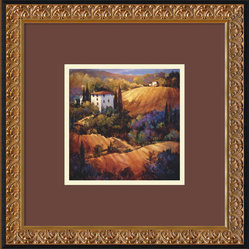 """Evening Glow Tuscany"" Framed Print by Nancy O"