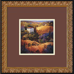 Amanti Art - Evening Glow Tuscany Framed Print by Nancy O'Toole - Rolling hills, glowing rays of Italian sun, and blooms of wildflowers combine to create the perfect peaceful scene for your wall. Bring warmth into your decor with this charming framed print of a painting by artist Nancy O'Toole. This inviting print comes in a black wood frame with an elegantly embossed inner gold detail, for additional sophistication.