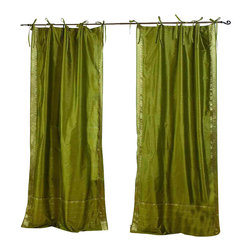 Indian Selections - Pair of Olive Green Tie Top Sheer Sari Curtains, 43 X 108 In. - Size of each curtain: 43 Inches wide X 108 Inches drop