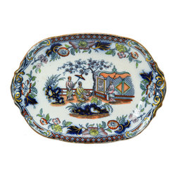 Lavish Shoestring - Consigned Colourful Serving Platter on Foot Oriental Style, English Victorian - This is a vintage one-of-a-kind item.