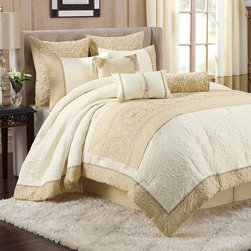 None - Bombay Tatyana 5-piece Comforter Set with Bed Runner - A global medallion pattern is placed on a creamy ivory backdrop to create the luxurious Tatyana bedding set. Crafted with a hypoallergenic fabric blend,this pieced set features a comforter,two shams,a bedskirt and runner.