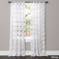 Lush Decor - Lush Decor Arlene Sheer Curtain Panel - Count on compliments when you decorate your home with Arlene Window Panels. A sheer base fabric with beautiful floral embroidery adds touch of softness and pure elegance.