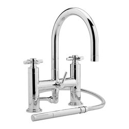Hudson Reed - Deck Mounted Tub Filler Faucet, Swivel Spout & Handheld Shower Kit - Enhance your modern bathroom with the stylish Hudson Reed deck mounted tub filler faucet, which comes complete with the shower kit and wall bracket. Made from brass with a chrome finish the high quality tub faucet features a swivel spout. Hudson Reed Tub Filler Faucet Details   Made from brass Chrome finish Swivel spout Includes shower kit and wall bracket Height: 13.2 Width: 7.1 Depth: 7.1