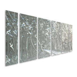 Pure Art - The Road Less Taken Monochrome Metal Wall Art Set of 6 - The brilliance of silver collides with the beauty of nature in this phenomenal aluminum wall hanging! The Road Less Taken Monochrome Metal Art Set of six panels features a scene that unwinds in its entirety over six separately hand painted panels.  This beautiful monochrome is abundantly sized to hang atop a large piece of furniture, like a couch or sofa, a buffet, headboard, or elsewhere.  Monochrome color scheme allows this decadently crafted and artfully styled metal wall art grouping set to fit in with a variety of decorative themesMade with top grade aluminum material and handcrafted with the use of special colors, it is a very appealing piece that sticks out with its genuine glow. Easy to hang and clean.