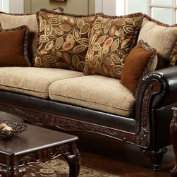 Chelsea Home - 92 in. Upholstered Sofa - Includes toss pillows. Traditional style. Fringe contrasting with leafy pattern pillows. Sofa in bi-cast brown fabric over high-density cover. Pillow in radar Havana cover. Seating comfort: Medium. Plush, rolled arms. Dacron wrapped foam reversible seat cushions. Zippered cushions. 8.5 gauge medium loop sinuous springs spaced 5 in. apart. 1.8 density foam with 0.75 of fiber wrapping. Ornately carved wood trim. Fabric contains: 32% polyester, 68% polyester propylene. Made from mixed hardwoods and plywood. Made in USA. No assembly required. Seat: 68 in. L x 25.5 in. W x 22 in. H. Overall: 92 in. L x 34 in. W x 36 in. H (165 lbs.)The Chelsea Home Furniture Trixie Collections brings sense of Victorian elegance to any living room area. This beautiful set, by Chelsea Home Furniture, epitomizes Chelseas legendary reputation for quality and comfort.