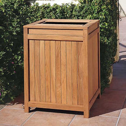 None - Teak Outdoor Trash Receptacle - Keep your outdoor space clean with the help of this large trash can. With an easy-open top for access to the trash back, this weather-resistant, Grade-A teak trash receptacle is finished in a natural teak color.
