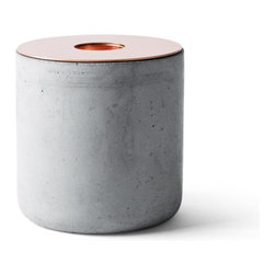 Menu - Chunk Candleholder, Concrete/Copper, Large - Chunks is a series of raw and robust candleholders for regular candles. 3 different kinds of material in 3 different sizes, ready for mix, match and mismatch just as you like.