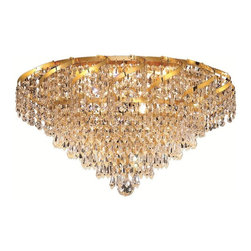 Elegant Lighting - ECA4 Belenus Collection Gold Finish Elegant Cut Crystals Flush Mount - Featuring a graceful multi-tiered design and a cascading crystal body, these brilliant Belenus chandeliers bring decorative drama to any room setting.  Coordinating ceiling mounts complete the versatile design.