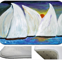 Sunset Sails Plush Bath Mat, 30X20 - Bath mats from my original art and designs. Super soft plush fabric with a non skid backing. Eco friendly water base dyes that will not fade or alter the texture of the fabric. Washable 100 % polyester and mold resistant. Great for the bath room or anywhere in the home. At 1/2 inch thick our mats are softer and more plush than the typical comfort mats.Your toes will love you.