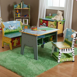 Fantasy Fields - Fantasy Fields - Sunny Safari Desk Chair & Bench Set - W-8267A - Shop for Childrens Table and Chair Sets from Hayneedle.com! Create a fun learning center in your own home with the Teamson Sunny Safari Table Set. This animal-themed activity set includes a table with storage cubbies inside a bench with storage space under the seat lid and a chair with a handy shelf under the seat. All pieces are hand- painted with detailed images of friendly wild animals bright sunshine and pleasant plant life. The table has elephant-leg sides the bench has giraffe sides and the chair has zebra sides.This sturdy children's table set is handmade from durable wood composite for long-lasting quality and stability. A slot in the front of the storage bench makes it easy for small hands to close the seat lid without pinching any fingers. Safety hinges also help the lid close slowly and prevent slamming. The paint used has been tested and verified to be free of lead to ensure your child's safety.Dimensions:Table: 30L x 20.4W x 21.25H inchesBench: 23.38L x 14.63W x 24.75H inchesChair: 15.38L x 14.38W x 24.75H inchesAbout Teamson DesignBased in Edgewoood N.Y. Teamson Design Corporation is a wholesale gift and furniture company that specializes in handmade and hand painted kid-themed furniture collections and occasional home accents. In business since 1997 Teamson continues to inspire homes with creative and colorful furniture.