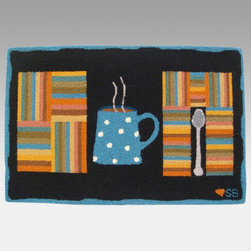 Susan Branch - Susan Branch Cuppa Joe Rug - SB-0071 - Shop for Rugs and Runners from Hayneedle.com! The Susan Branch Cuppa Joe Rug adds a fun accent to kitchens and cafes. This rectangular rug features a colorful coffee cup print on a black background and is made of 100% wool. It's hand-hooked for years of durable performance even in high-traffic areas at a density of 90 lines per square foot and measures 36L x 24W inches. Designed for indoor use.About Thorndike MillsRooted in a proud Armenian family tradition Thorndike Mills developed in Boston during the first half of the 20th century. Their dedication to the quality traditions of Armenian rug-making remains true today. With an emphasis on exact specifications materials that meet high levels of quality and rigorous construction standards they're a top producer of braided rugs for homes and businesses across America. Thorndike Mills is the only manufacturer who still produces true cloth braided rugs made with three strands woven together and then wrapped; the next best option would be a handmade rug. The true quality of the rugs lies in the little details like hidden joints guaranteed color matching perfect symmetry of design and durable lock-stitch sewing. Thorndike Mills is still owned today by the third generation of the founding family.About Susan BranchSusan Branch is a self-taught artist from the Martha's Vineyard area who creates delicate organically inspired works that celebrate nature and simplicity. She has previously been featured in magazines including Country Living and American Patchwork and Quilting. Susan is best known for her beautiful watercolor illustration work which graces her 14 published books as well as a line of china stationery pajamas and her popular yearly calendar.