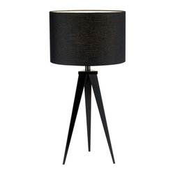 Adesso - Adesso Director Table Lamp (Black) - Each Director lamp has a black metal tripod base with a black poly/cotton drum shade. On/off rotary socket switch. 100 Watt incandescent or 26 Watt CFL bulb. 28 in Height. Base: 18 in Height, 9 in Between each leg. Shade: 9 in Height, 14 in Diameter.