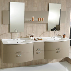 Ambiance Bain - Takoma Large Vanity | Ambiance Bain - Made in France by Ambiance Bain.The curved front and fluid lines of the Takoma Large Vanity instantly modernizes luxury bathrooms. With design inspired handles, large drawers, and bacteria-resistant countertop and sink, this contemporary vanity will upgrade any bathroom undergoing renovations with beauty and performance. Select from a variety of size, style, and color combinations to create a customized vanity that fits perfectly in your bath space. Also available in a small version.Product Features:
