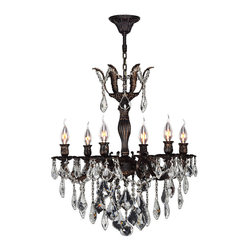 "Worldwide Lighting - Versailles 6 Light Flemish Brass Finish & Clear Crystal Chandelier 23"" D x 26"" H - This stunning 6-light Chandelier only uses the best quality material and workmanship ensuring a beautiful heirloom quality piece. Featuring a cast aluminum base in Flemish Brass finish and all over clear crystal embellishments made of finely cut premium grade 30% full lead crystal, this chandelier will give any room sparkle and glamour. Worldwide Lighting Corporation is a privately owned manufacturer of high quality crystal chandeliers, pendants, surface mounts, sconces and custom decorative lighting products for the residential, hospitality and commercial building markets. Our high quality crystals meet all standards of perfection, possessing lead oxide of 30% that is above industry standards and can be seen in prestigious homes, hotels, restaurants, casinos, and churches across the country. Our mission is to enhance your lighting needs with exceptional quality fixtures at a reasonable price."