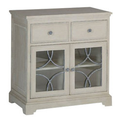 Gabby - LEIGH CHEST - Our Leigh Chest is another way that Gabby cleverly incorporates traditional materials in a fresh, exciting way. For this piece, we covered the drawer fronts with fabric and added a metal motif on the glass doors.