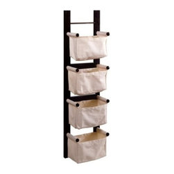 Winsome Trading, INC. - Winsome Wood Magazine Rack, Espresso - This magazine rack is a convenient and attractive storage unit. With ability to hang vertically or horizontally. Its 4 canvas baskets are great to keep your room in order.