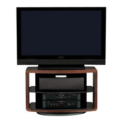 BDI - BDI Valera Single Wide 3 Shelf Swivel TV Stand in Chocolate Walnut - BDI - TV Stands - 9723 CWL - The Valera collection of open TV stands beautifully frames a home theater system and provides a semi-enclosed appearance. The center tempered grey tinted glass shelf(s) is adjustable and the back panel features integrated wire management to keep cables under control. This stand is a small three-shelf TV stand perfect for use with smaller systems in the corner of the room. The integrated swivel base has three adjustable settings - rotating 360 degree, swiveling 30 degree for corners or secured in place.