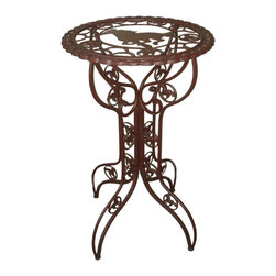 Zeckos - Western Metal Horse Bistro Table With Glass Top 26 Inch Diameter - This wonderful metal bistro table adds a Western touch to the patio or kitchen of any horse lover. The table measures 26 3/4 inches in diameter, and is 43 1/2 inches tall. It has a rustic brown enamel finish, and comes with a glass table top. All you'll need are a couple of barstools, and you'll have a perfect place to enjoy your morning coffee.