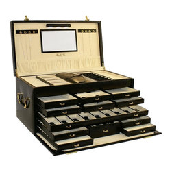 Morelle & Co - Leather Jewelry Box with Jewelry Roll - Mirror included. Materials: Genuine Leather. Storage compartments: 45. Number of drawers: 12. Holds:. Eight (8) necklaces. 56-ring compartment. 28-pair earrings. Four (4) watches. 45 extra compartments. 1 jewelry roll. LED Light. Batteries Not Included. Limited 30 day manufacturer warranty on lighting mechanism. 21 in.L x 11.25 in. W x 10 in. HStore your entire collection of jewelry inside this luxurious leather jewelry chest.  With its sixteen separate drawers and oodles of compartments, you are sure to find a special niche for each one of your jewelry collectables and trinkets. Includes a generously sized jewelry roll for your travel convenience.  A lovely mirror and pocket on the inside lid adds a touch  of sophistication. Behold this majestic jewelry box. Upon opening its lid a wonderful surprise awaits you. Newly patented stage like LED lighting will illuminate your jewels, and make them sparkle.