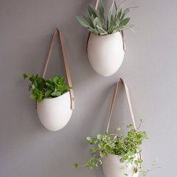 Set of 3 Porcelain and Leather Hanging Containers by Fashioned By