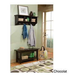 Alaterre - Fair Haven Storage Coat Hook and Bench with Shelf Set - Functional and attractive this Fair Haven coat hook and storage bench set will keep your entryway organized and neat. Four cubbies on the coat hook and a shelf on the bench provides plenty of storage space.