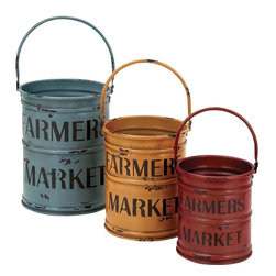 Benzara - Basket with a Rich Bold Finish of Colors - Set of 3 - Not every day do you come across baskets made out of metal that offer a striking mix of looks and utility. Add an authentic look to your farmhouse decor or your house near the countryside with this set of 3 assorted metal baskets. Even if you wish to add a creative feel to your natural garden surroundings, these baskets will be ideal for use. It perfectly complements a creative and modern decor and can well be kept both indoors and outdoors use. Available in 3 different sizes, these baskets comes in use for small medium and large utilities. Available in three rich colors of blue yellow and red, these baskets are crafted to finesse with a rich bold finish of colors. Its sturdy construction offers it an extra durability and appearance retention quality with a long life.