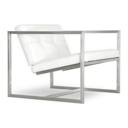 Gus*Modern - Delano Arm Chair, White Leather - Simple and sculptural with a timeless appeal, the Delano Chair is a popular choice with architects and designers. Available in leather or fabric. Features blind-tufted seat and back cushions. Stainless steel frame. Interior cushion panels constructed with 100% FSC®-Certified Wood in support of responsible forest management.
