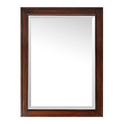 """Avanity Corporation - Avanity Brentwood Walnut 24"""" x 32"""" Wall Mirror - Classic and clean, this rectangular wall mirror features a beveled mirror pane to bounce light all around the room. From Avanity, this handsome rectangular wall mirror is sure to complement just about any d�cor style. A beautiful beveled mirror sits within a walnut finish wood frame with raised edges. Ready to hang, this mirror comes with a wood cleat at the back and stands at 32"""" high."""