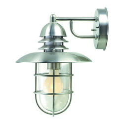 """Lite Source - Lite Source LS-1468 Outdoor Wall Sconce from the Lamppost Collection - Outdoor Wall LampAdding more splendors to your outdoor environments (made in stainless steel to be rustproof), these two lantern style families are here to last while also bringing a timeless touch as they light the way. (Conduit pipe and hardwiring required for ground installation.)60W Incandescent A Type Bulb(Bulb NOT Included)E-27 Socket (Medium Base)8.5"""" Width7""""H x3"""" Dia. Glass ShadeShade Dimensions: 7"""" x 3"""""""