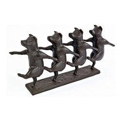 Design Toscano 7 in. Dancing Pig Chorus Line Cast Iron Statue - The whimsical dancing pigs on the Design Toscano 7 in. Dancing Pig Chorus Line Cast Iron Statue remind you not to take life too seriously. This humorous sculpture is meticulously cast in heavyweight cast iron with a bronze finish and was created by Australian artist Alison Holow. About Design ToscanoDesign Toscano is the country's premier source for statues and other historical and antique replicas, which are available through the company's catalog and website. Design Toscano's founders, Michael and Marilyn Stopka, created Design Toscano in 1990. While on a trip to Paris, the Stopkas first saw the marvelous carvings of gargoyles and water spouts at the Notre Dame Cathedral. Inspired by the beauty and mystery of these pieces, they decided to introduce the world of medieval gargoyles to America in 1993. On a later trip to Albi, France, the Stopkas had the pleasure of being exposed to the world of Jacquard tapestries that they added quickly to the growing catalog. Since then, the company's product line has grown to include Egyptian, Medieval and other period pieces that are now among the current favorites of Design Toscano customers, along with an extensive collection of garden fountains, statuary, authentic canvas replicas of oil painting masterpieces, and other antique art reproductions. At Design Toscano, attention to detail is important. Travel directly to the source for all historical replicas ensures brilliant design.