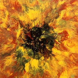 """""""Sunflower"""" (Original) By Eric Siebenthal - This Is A Floral Abstract, Close-Up Of A Sunflower.  Golden Rich Texture..."""