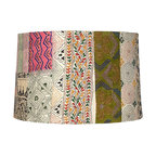 "Lamps Plus - Country - Cottage Patchwork Drum Lamp Shade 15x16x10.5 (Spider) - Covered in patchwork style fabric with embroidery and stitch designs this charming lamp shade comes in a drum shape and is easy to install on any new or existing light. The spider fitter within is a coated in a glistening chrome finish and the hardback exterior comes unlined. Colors will vary from piece to piece. Drum lamp shade. Patchwork design. Cotton fabric. Unlined. Chrome spider fitter. 15"" across the top. 16"" across the bottom. 10 1/2"" on the slant.  Drum lamp shade.  Patchwork design.  Cotton fabric.  Unlined.  Chrome spider fitter.  15"" across the top.  16"" across the bottom.  10 1/2"" on the slant."
