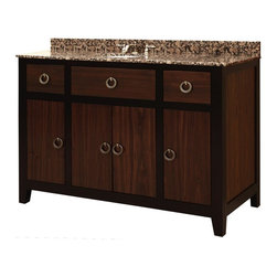 Sunny Wood Products Co Inc - Sagehill Designs UW4821D Urban Walnut 48 in. Single Bathroom Vanity Brown - SUNN - Shop for Cabinets from Hayneedle.com! A two-tone finish means twice the style with the Sagehill Designs UW4821D Urban Walnut 48 in. Single Bathroom Vanity. Made to endure from solid wood this free-standing vanity offers plenty of storage in its pair of drawers accented with metal hardware. To round out the look it's topped with a granite counter and backsplash. About Sagehill DesignsWith Sagehill Designs it s all in the details. Since 1986 Sagehill Designs has been crafting superior quality kitchen and bath furnishings. Rich in detail that matter you ll find heirloom-quality finishes impeccable craftsmanship and generous storage wrapped in a smart design. You get it all with a Sagehill Design original. Sagehill Design s specialists in helping you create the perfect kitchen or bath environment.