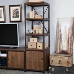 Belham Living Townsend Media Tower - Tall, dark, and handsome, the Townsend Media Tower provides attractive and ample storage for your home entertainment needs. A Hayneedle exclusive, this rustic-style media tower is constructed of durable MDF wood with fir wood veneer and sections of solid wood. A thorough, multi-step finishing process results in a rich, distressed finish. It features three shelves to keep books, photos, and decor items neatly organized and within easy reach. The lower section of this media tower features an enclosed cabinet with an adjustable shelf for your DVDs, CDs, video games, and smaller electronics. Wire management holes inside the cabinets keep all those cords neatly in place. The metal frame and hardware have a rustic-bronze finish that accentuates the warm and inviting look. Use this media tower alone or pair it with our Townsend TV Stand for additional storage and display space. A special note on the unique quality of this itemSections of solid wood have been used in the construction of this item. For this reason, each piece will be truly unique. Wood knot placement will vary and each item will have its share of rough and smooth surfaces. Each product is one of a kind.About Belham LivingBelham Living builds catalog-quality furniture in traditional styles at a price that actually makes sense. By listening to our customers and working closely with great manufacturers, we build beautiful pieces worthy of your home. Rich wood finishes, attention to detail, and stylish lines that tie everything together are some of the hallmarks of a Belham Living piece. From the living room or bedroom, through the kitchen, and out onto the deck, there's something from an incredible Belham collection perfect for your style.