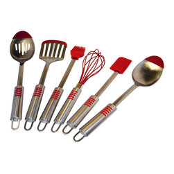 Le Chef - Le Chef Stainless Steel Silicone Tip 6-piece Utensil Set - This Le Chef deluxe set of six utensils furnishes a kitchen with the durable essentials. All of the tools in this set are made of attractive and sturdy stainless steel with red silicone tips on the tools to protect nonstick pans and cookware.
