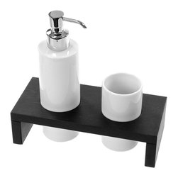 Gedy - Wenge Soap Dispenser and Tumbler Combo - Add this high-end, contemporary soap dispenser,tumbler holder to your already contemporary & modern master bathroom. Made in high-end pottery and available in wenge. This free-standing soap dispenser,tumbler holder is manufactured in and imported from Italy by Gedy and is from the Gedy Kelly collection. Gedy free-standing soap dispenser,tumbler holder. From the Kelly collection. High-End & designer, made in pottery and finished in wenge. Manufactured in and imported from Italy.