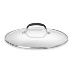 """Calphalon - Simply Calphalon 10-Inch Tempered Glass Lid - This see-through, 10"""" cookware cover is made of tempered glass and also comes with a silicone, stay-cool handle and stainless steel lip. Lid traps moisture and flavor, and allows you to safely monitor cooking progress without taking the cover off."""