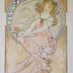 "Art Gems - Mucha Painting:  Framed Canvas Gemmed Giclée Art Prints - All of our collections are framed in gold leaf hardwood 3"" wide frames."