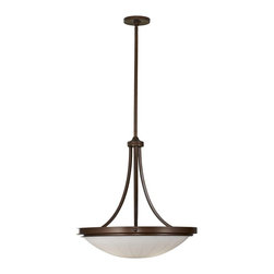 Murray Feiss - Murray Feiss Perry Bowl Chandelier in Heritage Bronze - Shown in picture: Perry Chandelier in Heritage Bronze finish with White Opal EtchMetal