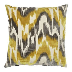 "Z Gallerie - Sketch Pillow 24"" - Enliven your décor with satiated hues of lemon, cream and charcoal with our exclusive Sketch Pillows.  Printed in an Ikat fashion with blends of colors decoratively intermingled creates a stunning display of contrast and texture. Use alone as a show stopping accent pillow, or pair together with a contrasting mix of prints for an entice display of pattern."