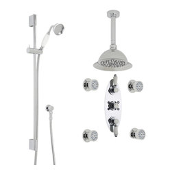 """Hudson Reed - Traditional Chrome Rose Shower System Set With 8"""" Ceiling Head Handset 4 Sprays - This shower kit from Hudson Reed is perfect for adding traditional elegance to any bathroom. The shower kit comes complete with the triple thermostatic shower valve, 8"""" fixed shower head, slide rail kit and four body jets, so you can be sure to shower in style and luxury."""