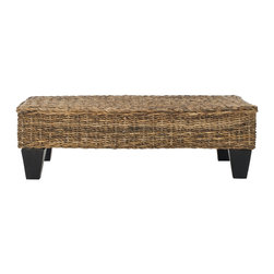 Safavieh - Leary Bench - Natural - Create an instant indoor oasis with the rattan Leary Bench. The richly colored mango wood legs are the perfect modern foundation for its natural-toned woven top. Ideal for extra seating, a place to set a drink or a tray with all your treasures, it offers a moment of easy elegance in any room.