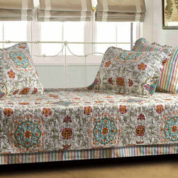 None - Esprit Spice Quilted Daybed Set - Adding one of these exotic daybed covers is a great way to upgrade the look of your bedroom. It's made of 100 percent cotton for comfort, and the design reverses to a striped pattern to match a wide range of styles. It is machine washable for easy care.